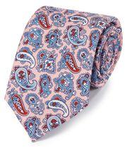 Englische Luxuskrawatte aus Seide mit Paisleymuster in Rosa und Blau