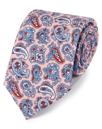 Pink and blue silk paisley print English luxury tie