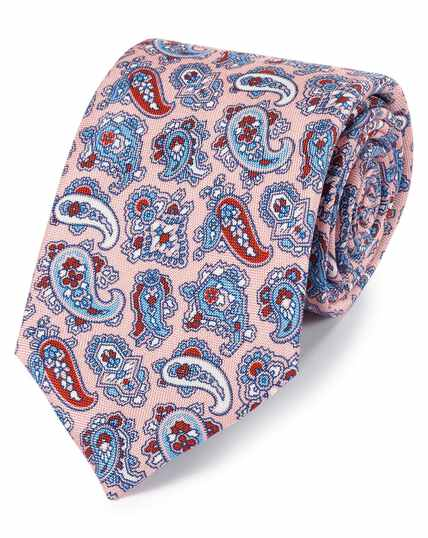 Pink and blue silk paisley print English luxury tie
