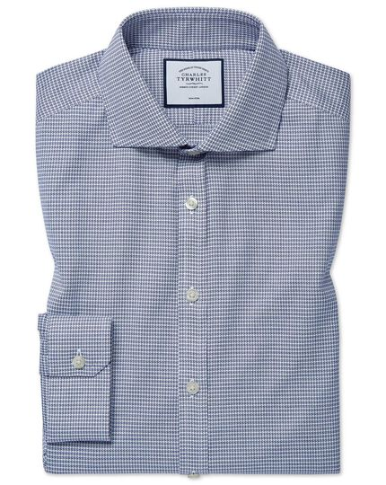 Super slim fit cutaway non-iron cotton stretch Oxford navy shirt