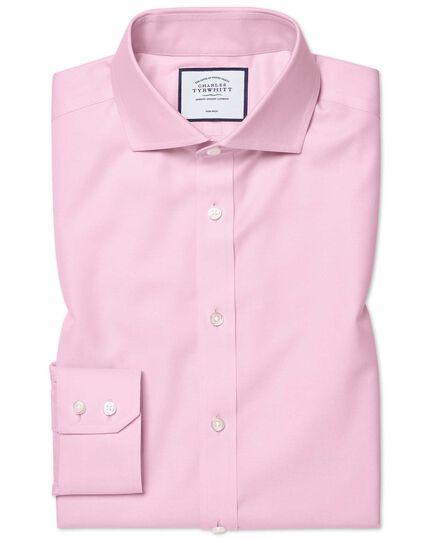 Extra slim fit cutaway collar pink non-iron twill shirt