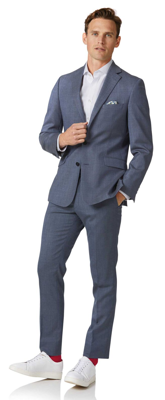 Airforce blue extra slim fit merino business suit