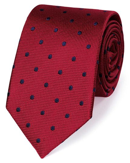 Red and navy silk spot classic tie