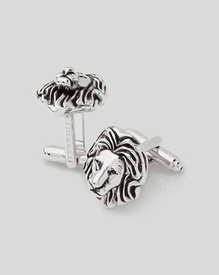Antique Silver Lion Head Cufflink