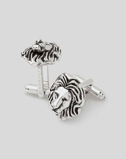 Antique Silver Lion Head Cufflink