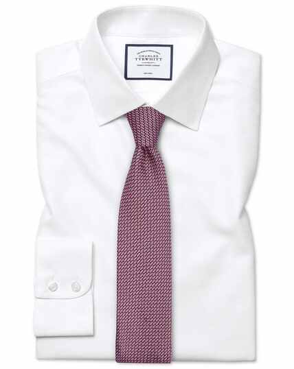 Classic fit non-iron dash weave white shirt