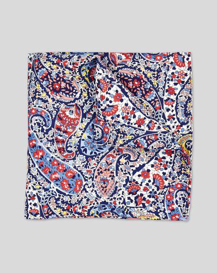 Paisley Print Pocket Square - Blue Multi
