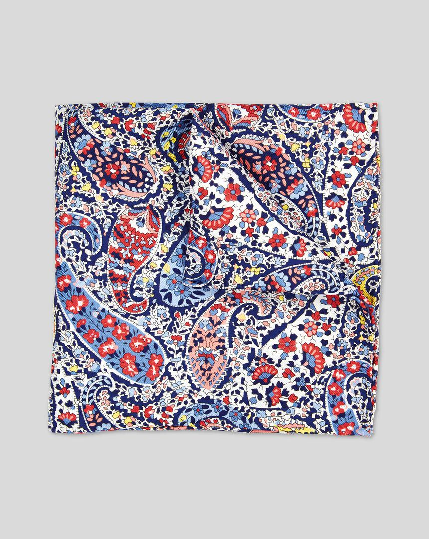 Paisley Print Pocket Square - Blue Multi