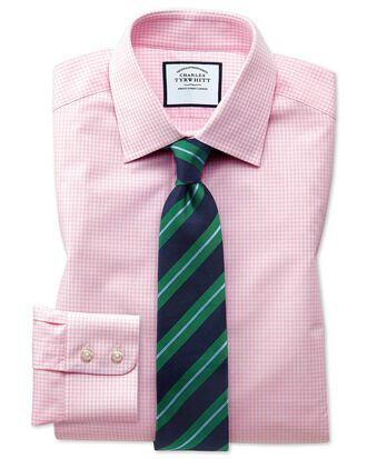 Classic fit small gingham light pink shirt