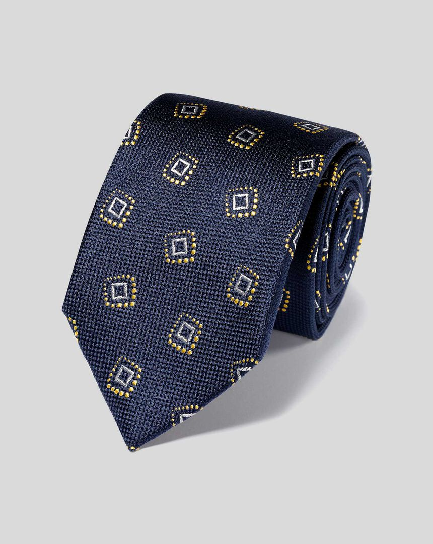 Silk Textured Square Motif Classic Tie - Navy & Gold