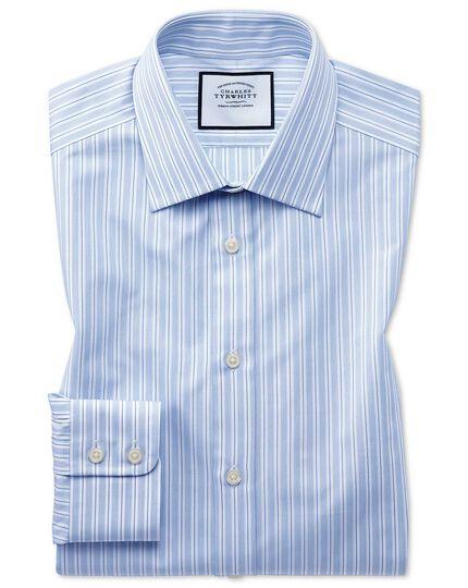Slim Fit Popelinehemd aus ägyptische Baumwolle mit Streifen in Himmelblau