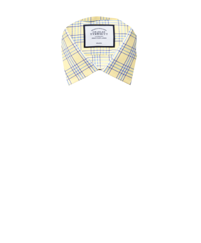 Extra slim fit non-iron Prince of Wales yellow shirt
