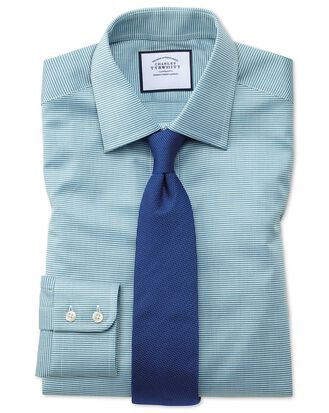 Classic fit teal small puppytooth Egyptian cotton shirt