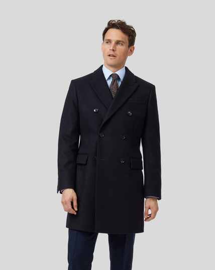 Italian Wool Cashmere Double Breasted Epsom Coat - Navy