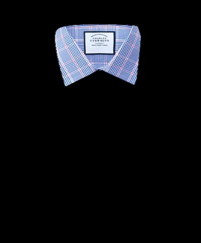 Chemise bleue Prince de Galles slim fit