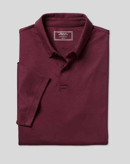 Smartes Jersey-Polo - Weinrot