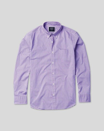 Button-Down Collar Soft Washed Non-Iron Twill Check Shirt - Lilac