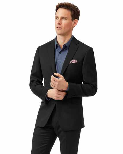 Black slim fit Italian natural stretch suit jacket