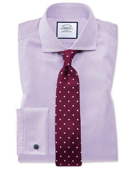 Super slim fit non-iron lilac puppytooth shirt