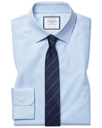 Extra slim fit small gingham sky blue shirt