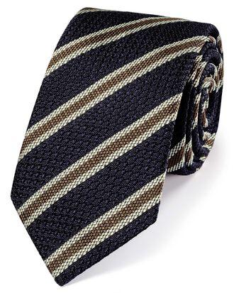 Navy silk stripe grenadine Italian luxury tie