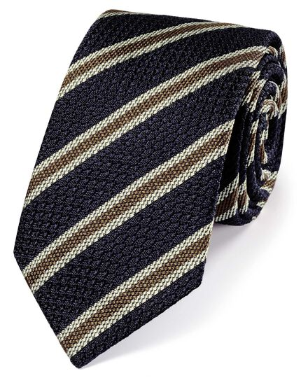 Navy silk stripe grenadine Italian luxury tie