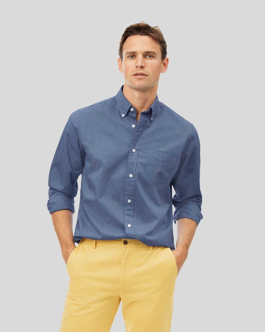 Vorgewaschenes Popeline-Hemd aus Stretchgewebe mit Button-down-Kragen - Blau