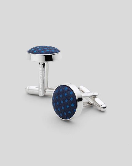 Silk Round Cufflinks - Blue