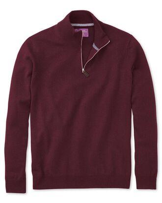 Wine cashmere zip neck jumper