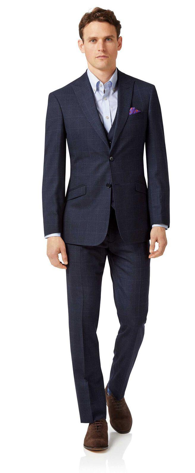 Blue slim fit jaspe check business suit