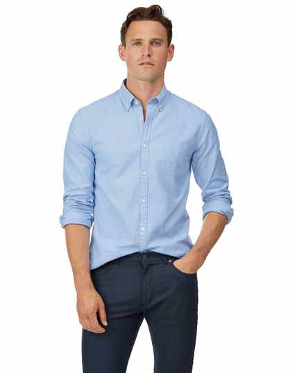 Extra slim fit button-down washed Oxford sky blue shirt