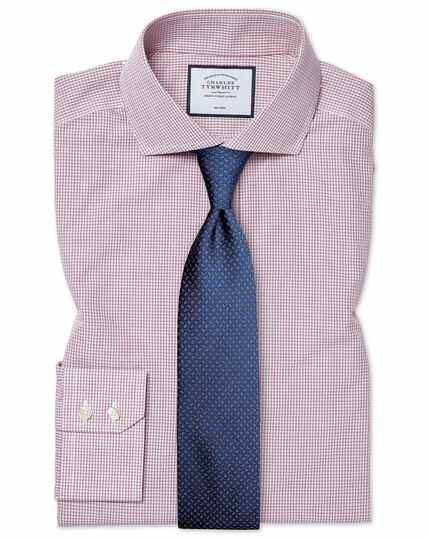 Extra slim fit non-iron Tyrwhitt Cool poplin check berry shirt