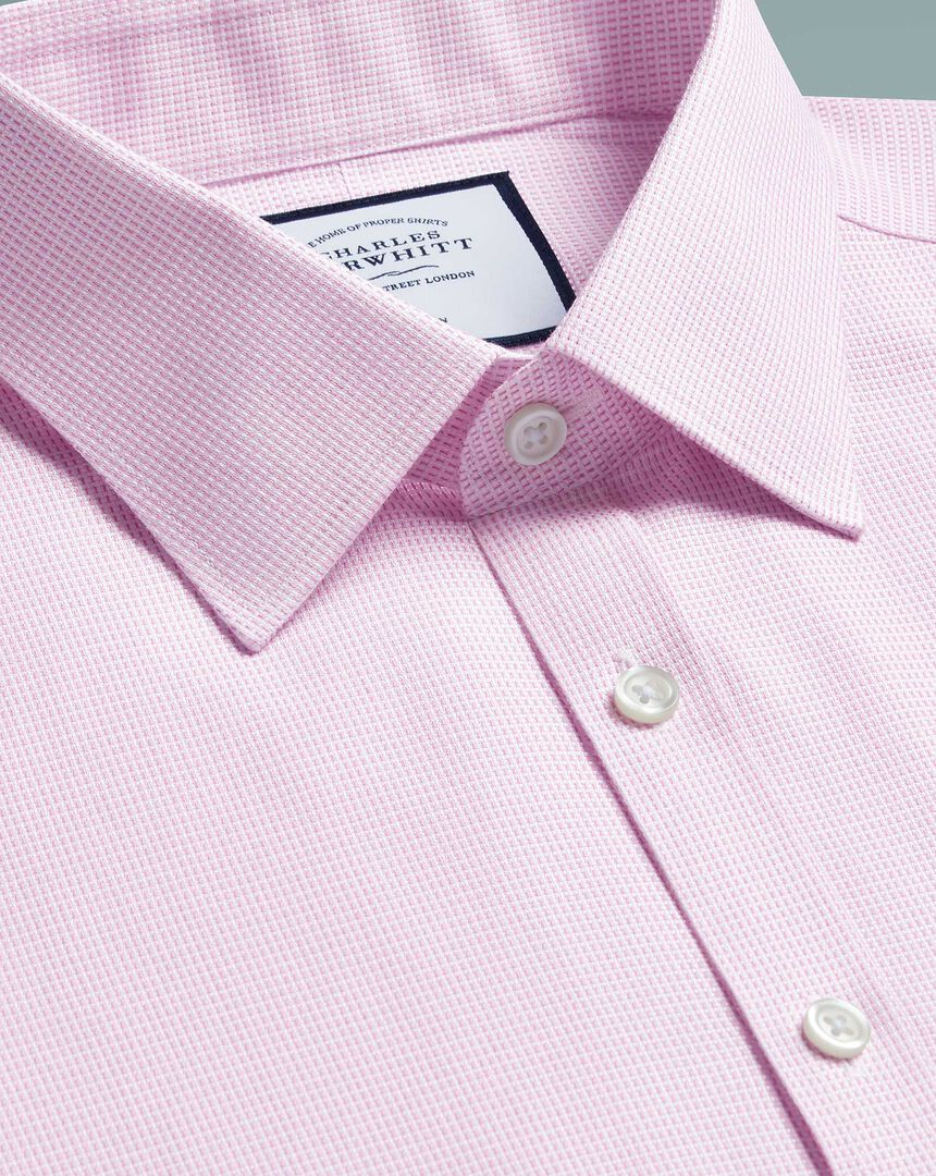 Super slim fit non-iron dash weave pink shirt