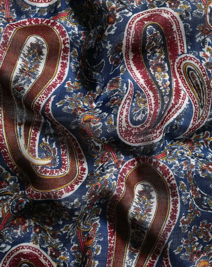 Paisley Wool Silk Pocket Square - Blue Multi