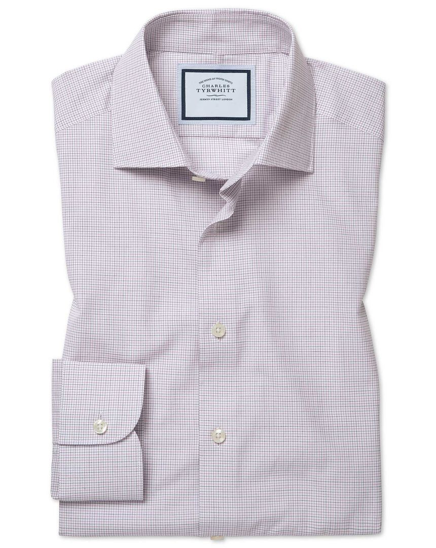 Classic fit peached Egyptian cotton purple check shirt