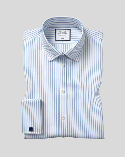 Classic fit non-iron twill white and sky blue stripe shirt
