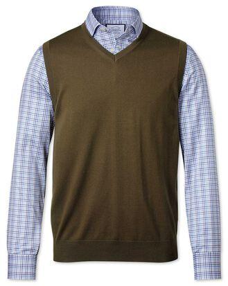 Olive merino sweater vest