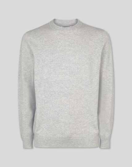 Merino Cashmere Crew Neck Sweater - Silver