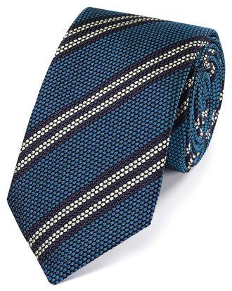 Italienische Luxuskrawatte aus Grenadine-Seide mit Streifen in Himmelblau