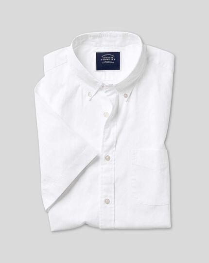 Chemise oxford délavée à col boutonné et manches courtes - Blanc
