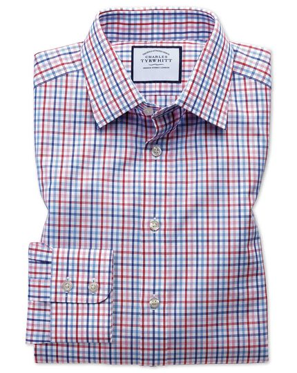 Extra slim fit poplin multi red check shirt