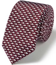 Burgundy fish print silk slim tie