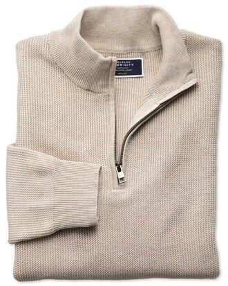 Stone pima cotton textured zip neck jumper