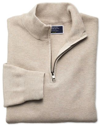 Stone pima cotton textured zip neck sweater
