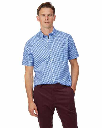 Classic fit sky blue short sleeve gingham soft washed non-iron stretch poplin shirt