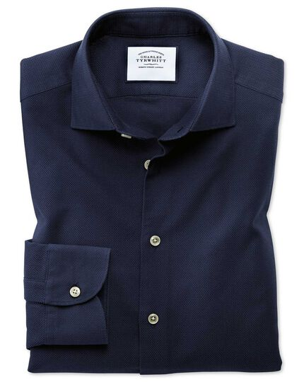 Business-Casual Slim Fit Hemd mit Dreherstruktur in Marineblau