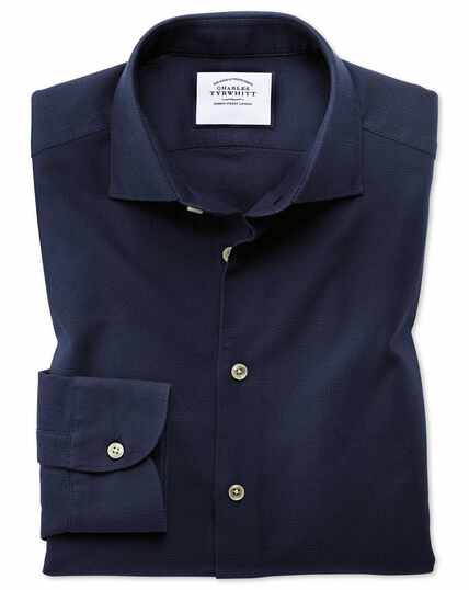 Slim fit business casual leno texture navy shirt