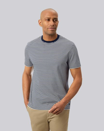 Smart Jersey Stripe Tyrwhitt T-Shirt - Navy & Ecru