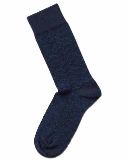 Navy and blue octagon socks