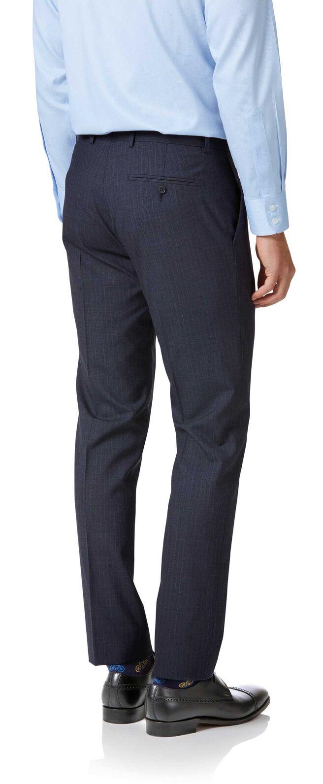 Blue stripe slim fit twist business suit